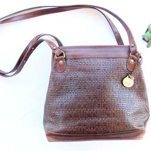 Vintage Brahmin Brown Leather Woven Shoulder Bag